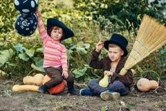Брат и сестра играя на хеллоуине Стоковая Фотография RF