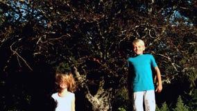 Брат и сестра отскакивая на батуте видеоматериал
