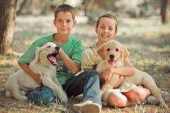 Брат сестры подростка сцены щенка Retriever симпатичный наслаждается представить каникулы временени с собакой белым labrador цвет стоковые фото