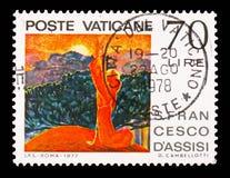 Брат Солнце, 750th годовщина смерти Св.а Франциск Св. Франциск serie Assisi, около 1977 стоковая фотография rf