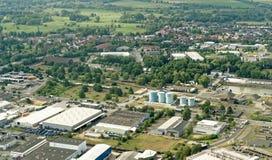 Брауншвейг, более низкая Саксония, Германия, 24-ое мая 2018: Реклама и промышленная зона на порте Брауншвейга, вид с воздуха Стоковое Изображение RF