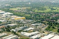 Брауншвейг, более низкая Саксония, Германия, 24-ое мая 2018: Реклама и промышленная зона на порте Брауншвейга, вид с воздуха Стоковая Фотография