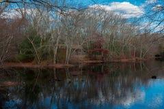 Бревенчатая хижина прудом Стоковые Изображения RF