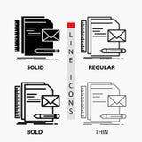 Бренд, компания, идентичность, письмо, значок представления в тонких, регулярных, смелых линии и стиле глифа r иллюстрация штока