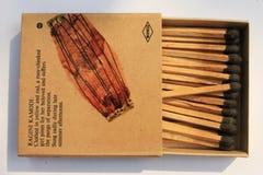 Бренд matchbox WIMCO безопасности индийского 1970 старого антиквариата очень редкий подгонянный со спичками на белизне на индийск стоковая фотография