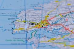 Брест Франция на карте Стоковое Фото
