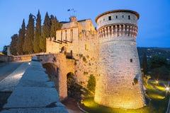 Брешия - замок на сумраке Стоковое Фото