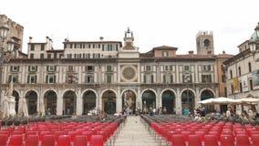 Брешия - Италия: Лоджия della аркады в Брешии и башне с часами акции видеоматериалы