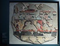Брешия, Италия, 11-ое августа 2017, старая римская мозаика стены в музее Стоковая Фотография RF