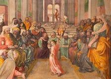 БРЕШИЯ, ИТАЛИЯ: Фреска 12 старый Иисус в виске Lattanzio Gambara в di Cristo Chiesa del Santissimo Corpo церков Стоковое фото RF