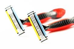 2 брея бритвы изображение наушников черноты близкое изолировало пусковую площадку микрофона мягко вверх по белизне Стоковое фото RF