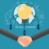 Бредовая мысль команды дела и получает большую идею Сотрудничает концепция успеха глобального бизнеса Стоковое Фото