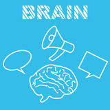 Бредовая мысль работ мозга с мегафоном Стоковое Изображение RF