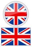 Британия создала стойку комплекта металла одного сеток градиента флагов флага порхая большую используя волнистый ветер Стоковое Фото