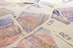 Британцы 20 примечаний фунта Стоковое фото RF