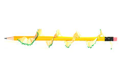 Брить карандаша вращается вокруг желтого карандаша Стоковое Изображение RF