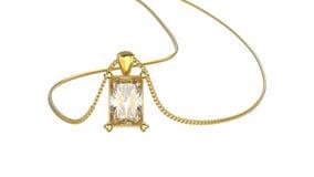 бриллиантовое колье желтого золота иллюстрации 3D на цепи Стоковая Фотография