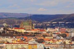 Брно, чехия, 20-ое марта 2017: Панорама Брно, чехословакское republik Стоковые Фотографии RF