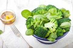 Брокколи, шпинат младенца и салат зеленых фасолей стоковые изображения rf