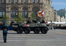 Бронетранспортер BTR-82A во время парада победы на красной площади в Москве Стоковые Фотографии RF