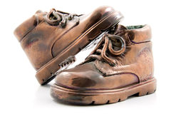 бронза ягнится ботинки пар стоковое фото rf