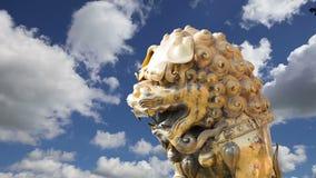Бронзовая китайская статуя дракона в запретном городе фарфор Пекин акции видеоматериалы