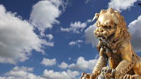Бронзовая китайская статуя дракона в запретном городе фарфор Пекин сток-видео