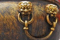 Бронзовая ручка льва Стоковая Фотография