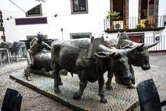 Бронзовая статуя волов и их водитель вытягивая товары на деревянных бегунах Статуя в Фуншале Мадейре около рынка Hall стоковое изображение