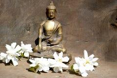 Бронзовая статуя касающей земли Будды на древесине с белыми цветками Стоковое фото RF