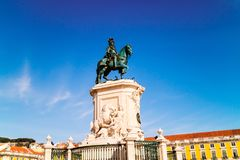 Бронзовая статуя короля Иосиф Я в Лиссабоне Стоковые Фотографии RF