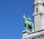 Бронзовая статуя наездника базилики Sacre Coeur Стоковые Фотографии RF