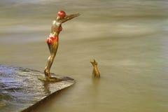 Бронзовая статуя пловца девушки скача в Vardar Стоковая Фотография