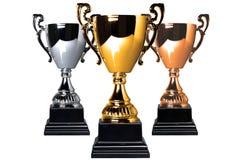 бронзовые трофеи серебра золота стоковая фотография