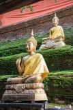 Бронзовые buddhas на античной пагоде в Chiangmai стоковые фото