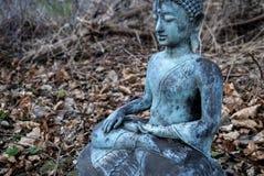 Бронзовый Будда в лесе Стоковая Фотография RF