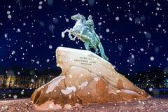 Бронзовый наездник в Санкт-Петербурге разветвляет зима взгляда вала снежка ели Стоковые Фото