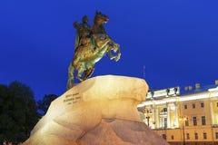 Бронзовый наездник - конноспортивная статуя Питера большие в Staint-Петербурге, Стоковое Фото