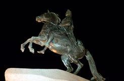 Бронзовый наездник на ноче в Санкт-Петербурге Стоковые Изображения