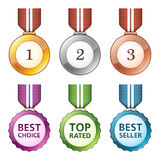 бронзовый серебр золотой медали Стоковые Изображения