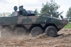 Бронированное транспортное средство AMV XC-360P Rosomak на выставке войск Стоковое фото RF