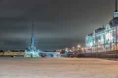 Бронированный рассвет крейсера, StPetersburg, Россия стоковое изображение