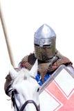 Бронированный рыцарь на warhorse Стоковая Фотография RF