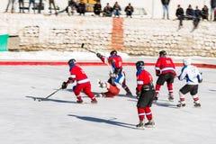 Бросать вызов игрока хоккея на льде Стоковые Изображения