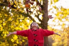 бросать листьев девушки осени счастливый Стоковые Изображения RF