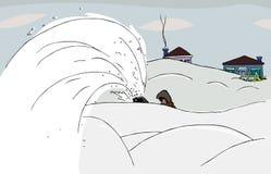 бросать снежка иллюстрация вектора