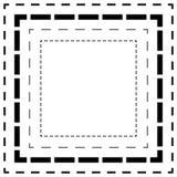 Брошенная линия квадраты Тонкие и толстые линии Линии отрезка, отрезок квадрата Стоковое Изображение RF