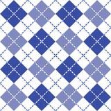 Брошенная картина Argyle в голубом и белом стоковые изображения rf