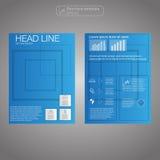 Брошюра дела, голубой вектор шаблона дизайна, план в размере A4 Стоковая Фотография