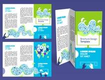 Брошюра, план z-створки буклета Editable шаблон конструкции Стоковое Изображение RF